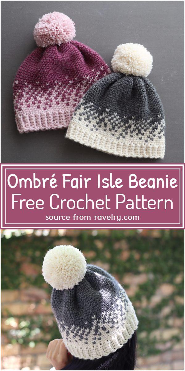 Ombré Fair Isle Beanie Crochet Pattern