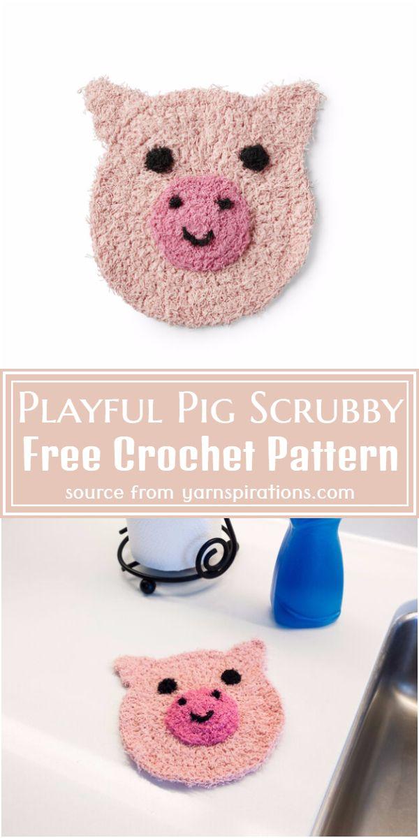 Playful Pig Scrubby Crochet Pattern