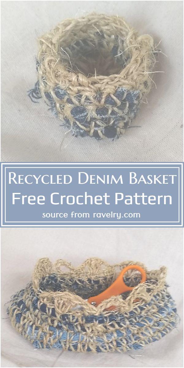 Recycled Denim Basket Crochet Pattern