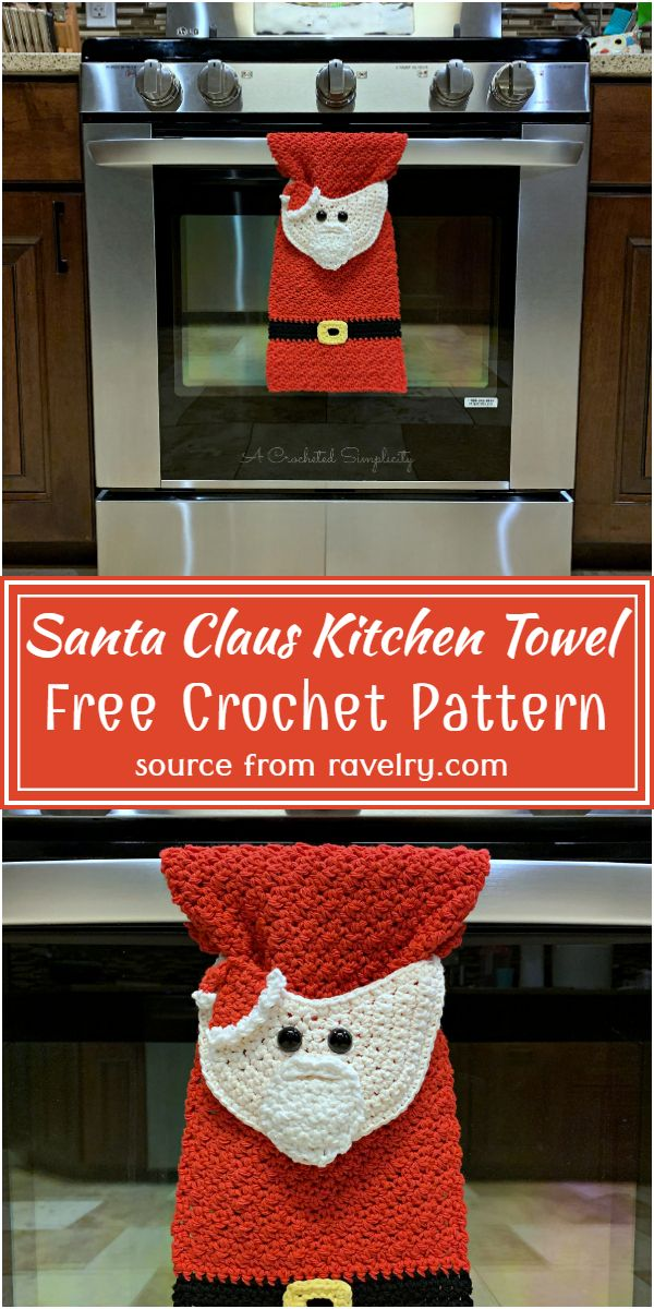 Santa Claus Kitchen Towel Crochet Pattern