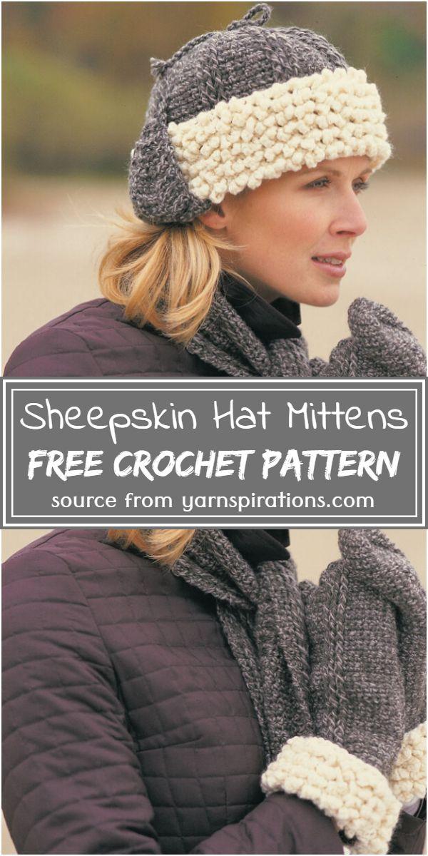 Sheepskin Hat, Mittens Crochet Pattern