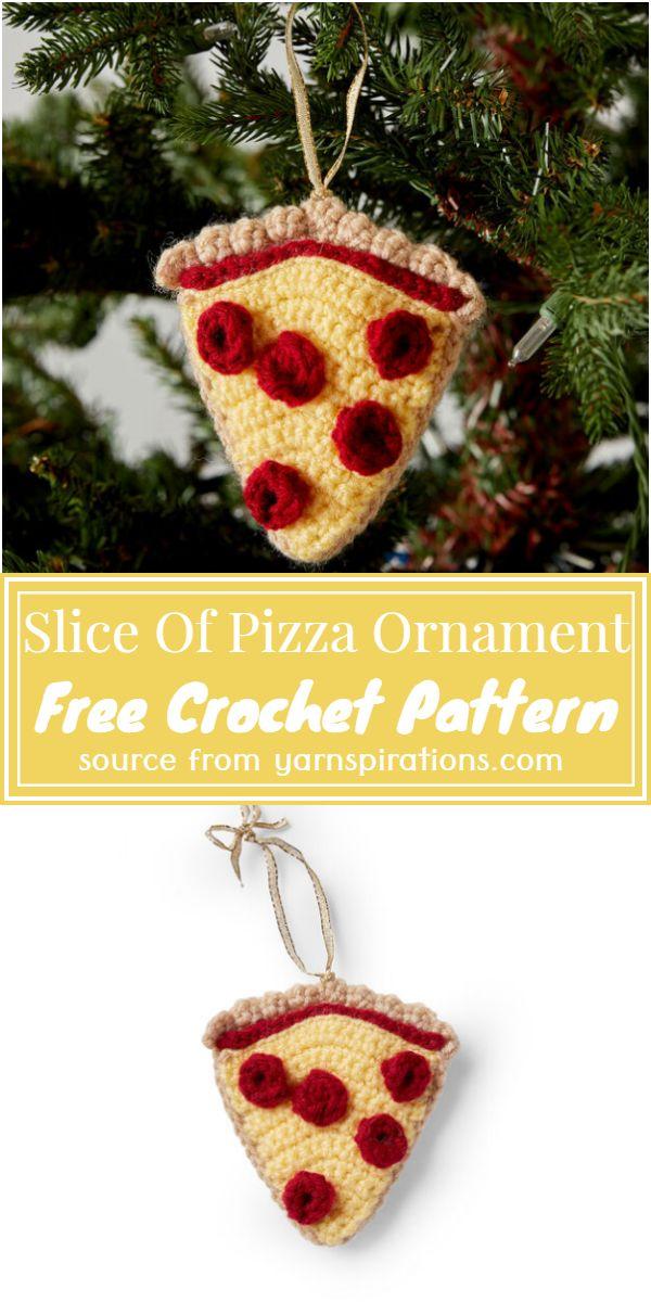 Slice Of Crochet Pizza Ornament Free Pattern