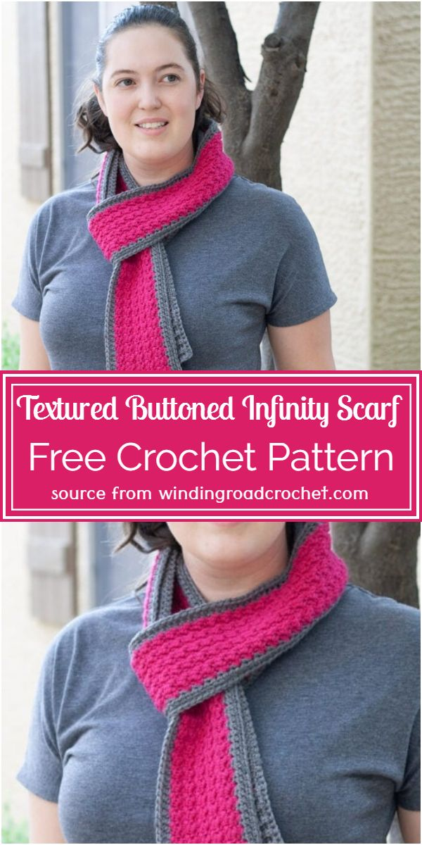 Textured Buttoned Crochet Infinity Scarf Free Pattern