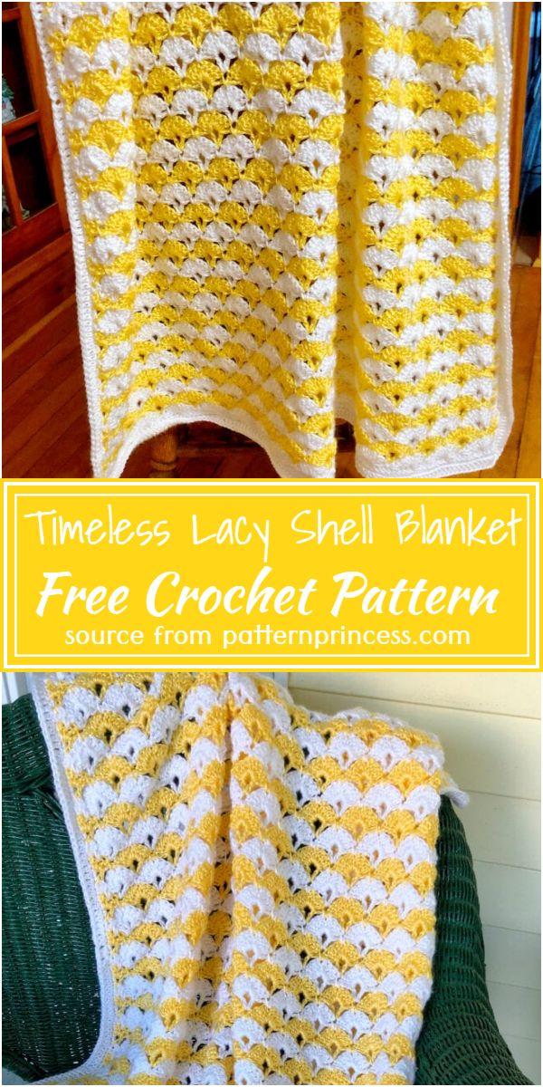 Timeless Crochet Lacy Shell Blanket Free Pattern