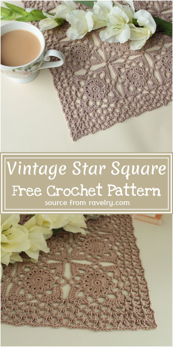 Vintage Star Square Crochet Pattern