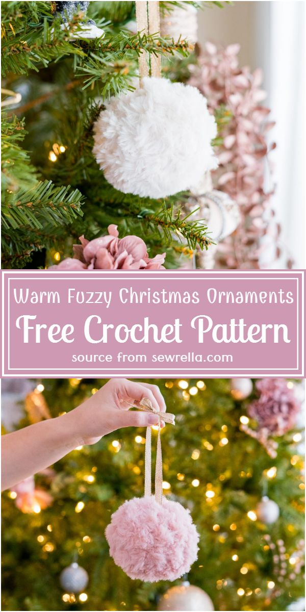Warm Fuzzy Christmas Ornaments Crochet Pattern