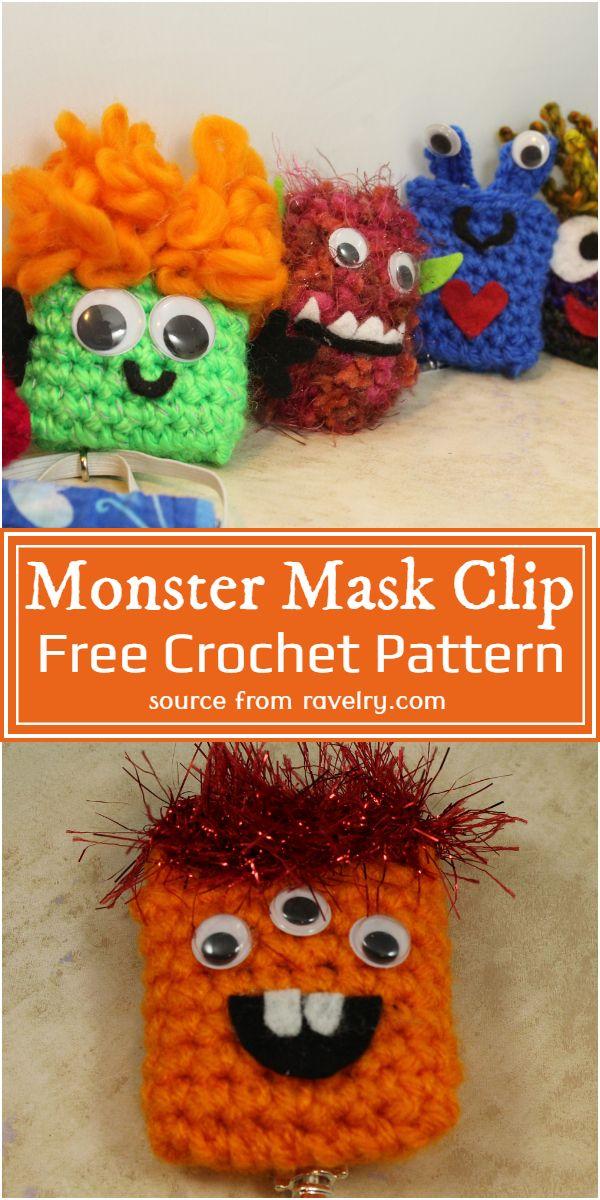 Crochet Monster Mask Clip Pattern