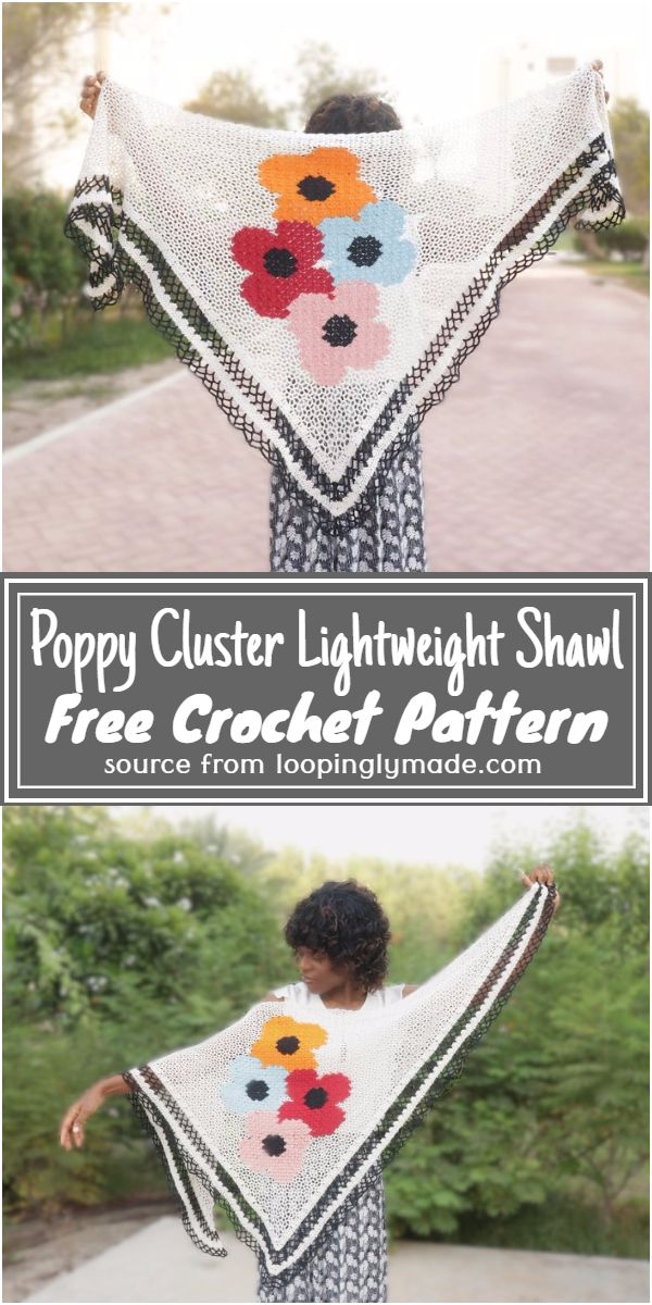 Crochet Poppy Cluster Lightweight Shawl Free Pattern