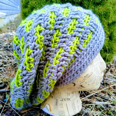 Dashed Crochet Slouchy Hat Free Pattern