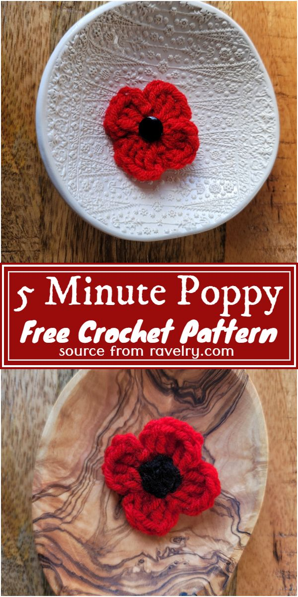 Free Crochet 5 Minute Poppy Pattern