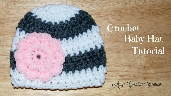 Free Crochet Baby Bulky Hat With Puff Stitch Flower Pattern
