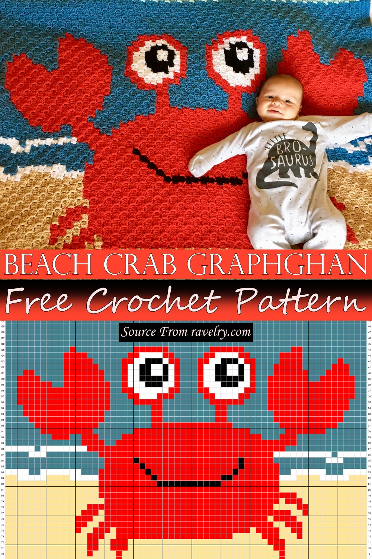 Free Crochet Beach Crab Graphghan Pattern