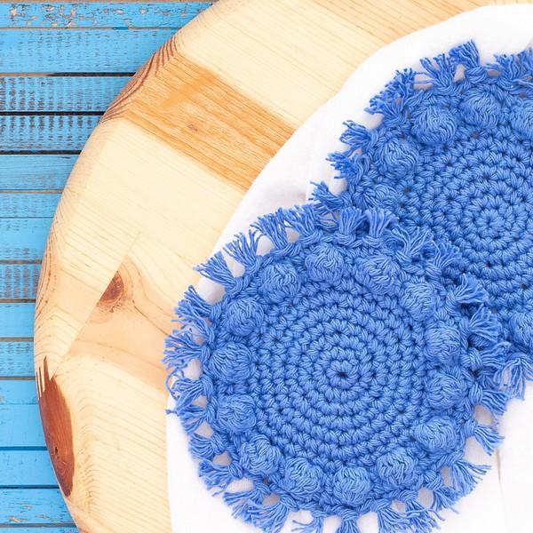 Free Crochet Boho Bobble Coasters Round Pattern