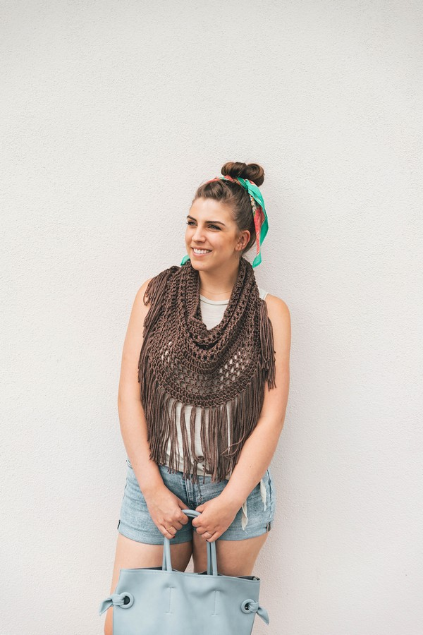 Free Crochet Boho Fringe Cowl Pattern