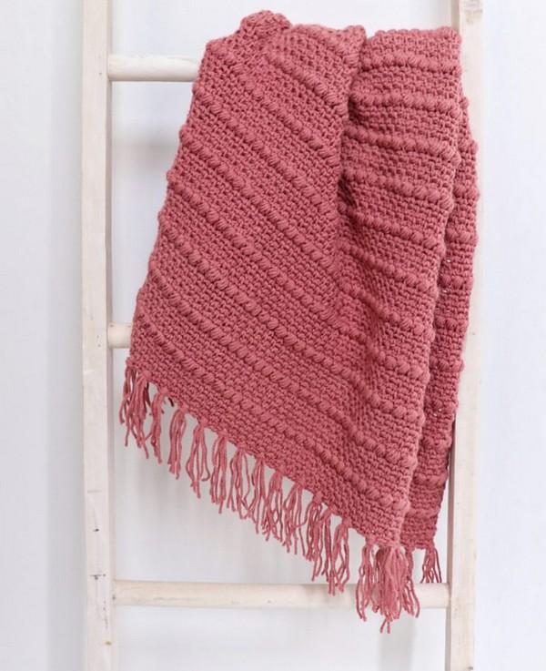 Free Crochet Boho Puff Stripes Blanket Pattern