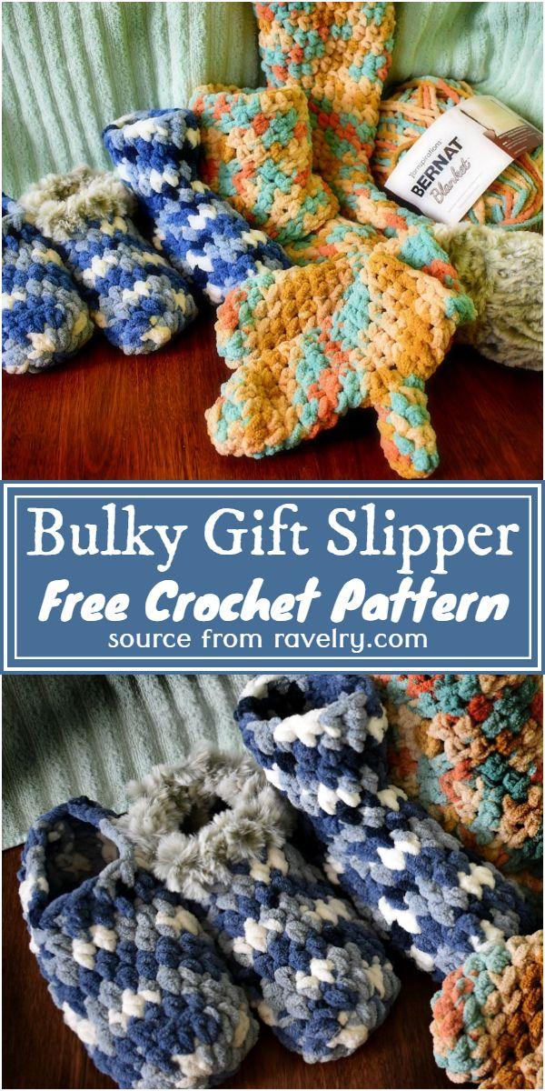 Free Crochet Bulky Gift Slipper Pattern