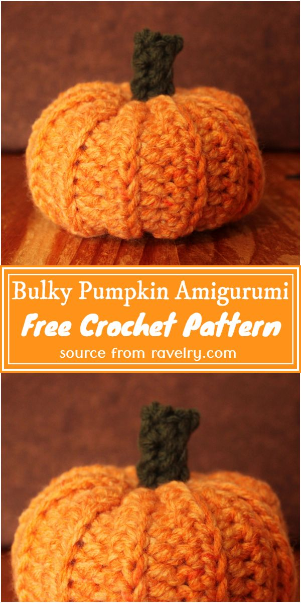Free Crochet Bulky Pumpkin Amigurumi Pattern
