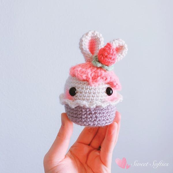 Free Crochet Bunny Rabbit Strawberry Cupcake Pattern
