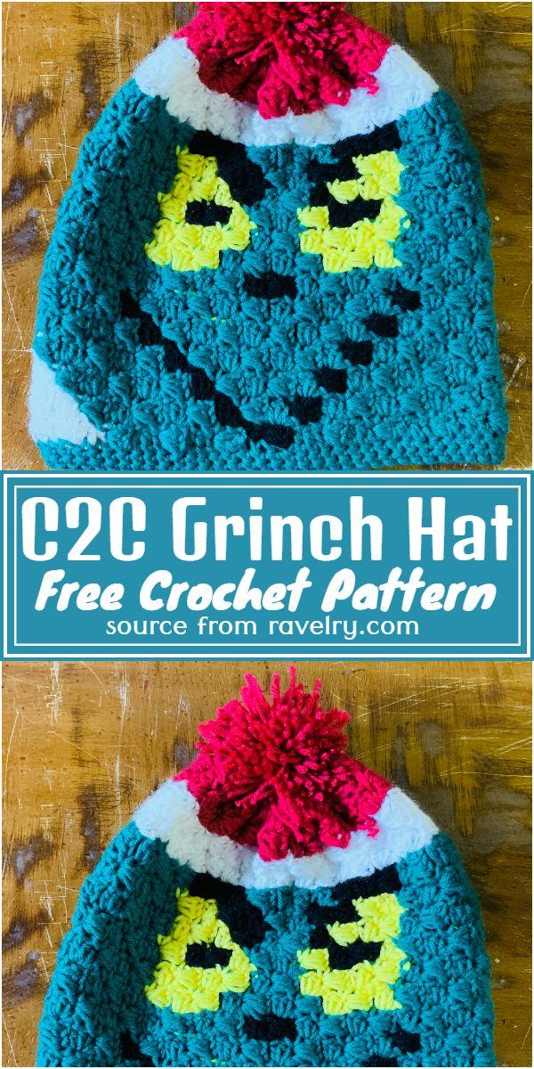 Free Crochet C2C Grinch Hat Pattern