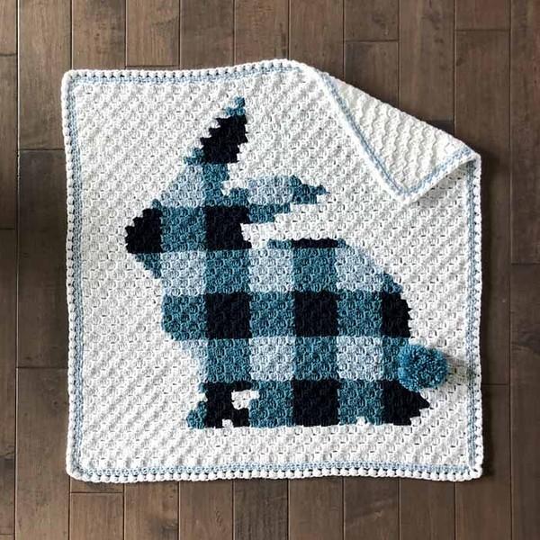 Free Crochet C2c Bunny Rabbit Blanket Pattern