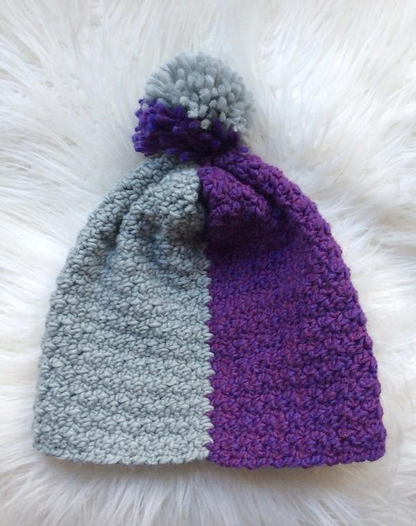 Free Crochet Color Block Slouchy Hat Pattern