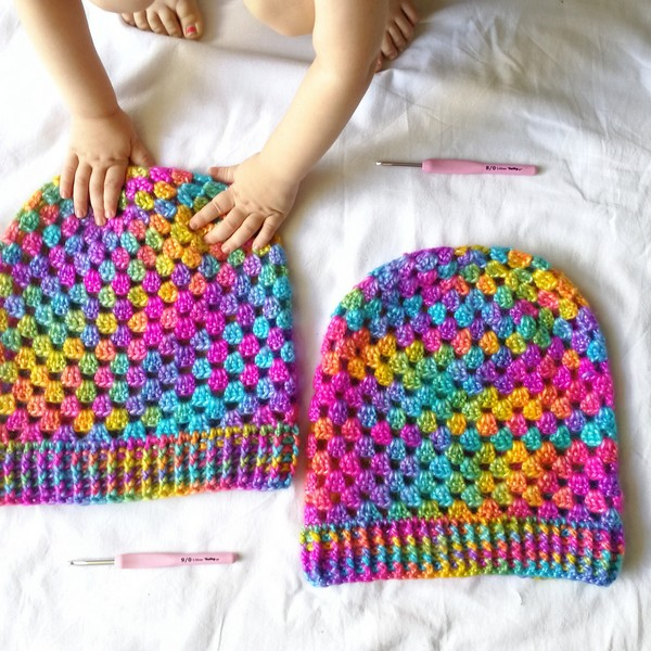 Free Crochet Colorful Mind Slouchy Hat Pattern