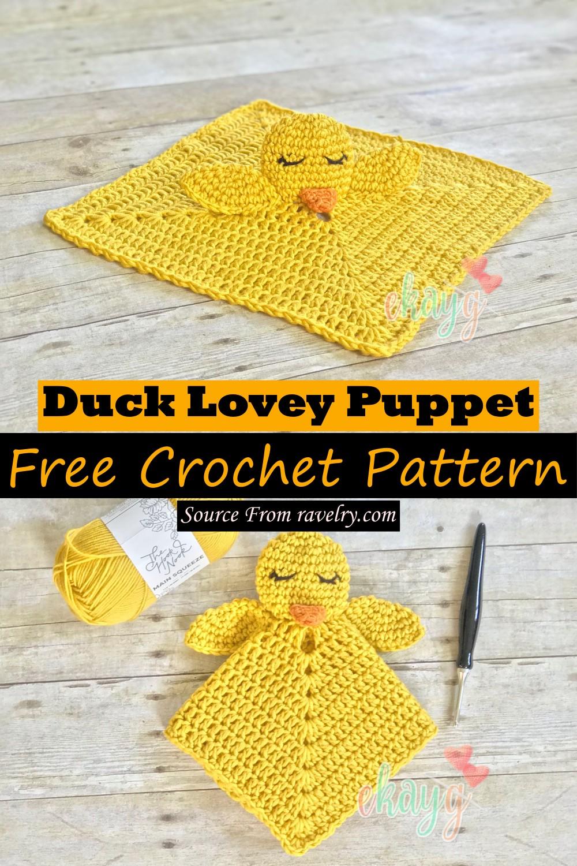 Free Crochet Duck Lovey Puppet Pattern