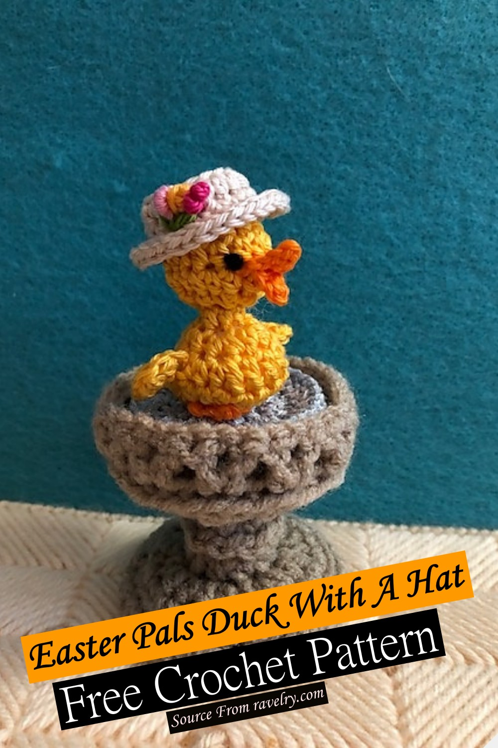 Free Crochet Easter Pals Duck With A Hat Pattern
