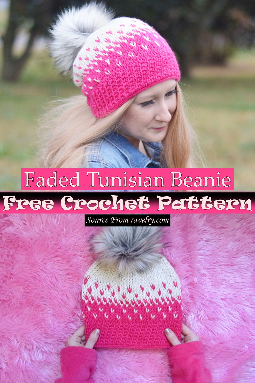 Free Crochet Faded Tunisian Beanie Pattern