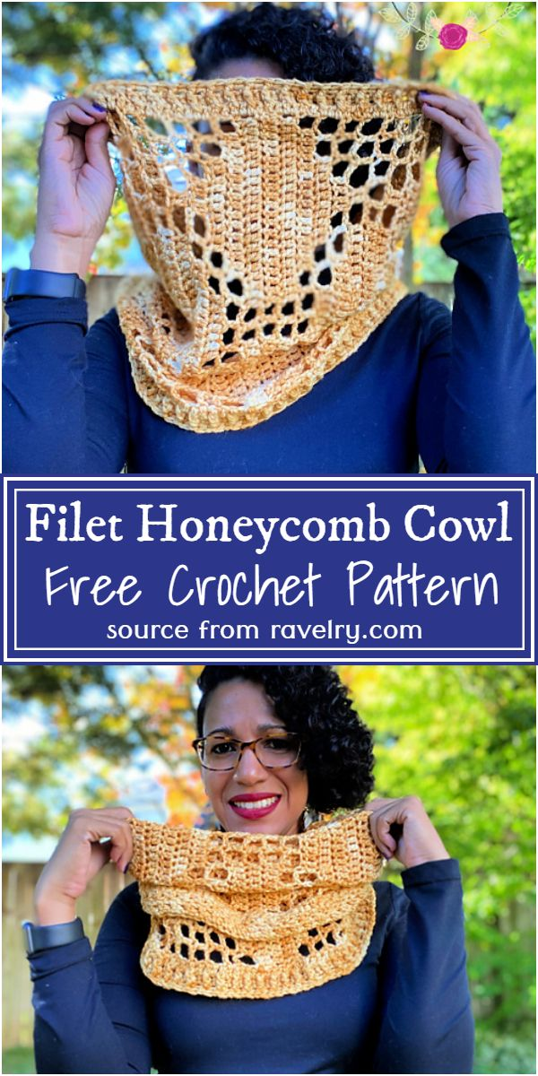 Free Crochet Filet Honeycomb Cowl Pattern