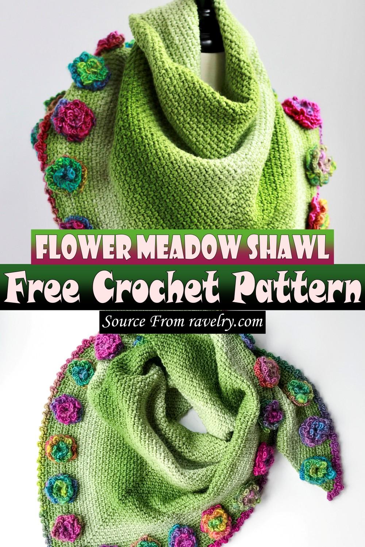 Free Crochet Flower Meadow Shawl Pattern