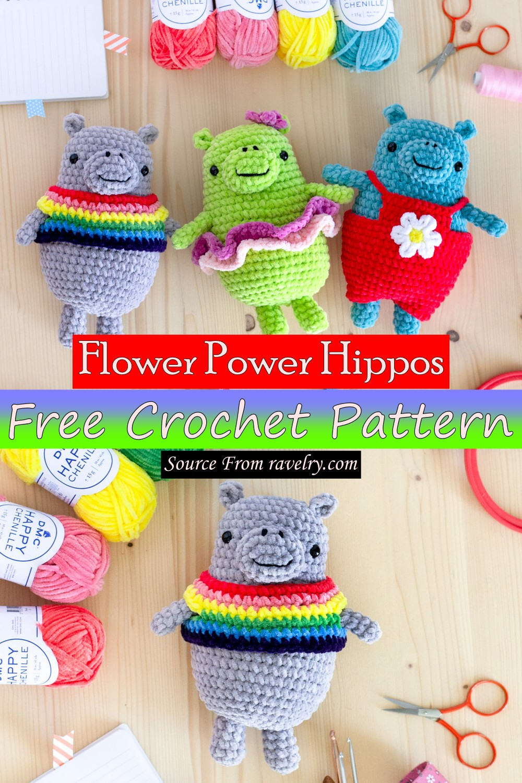 Free Crochet Flower Power Hippos Pattern