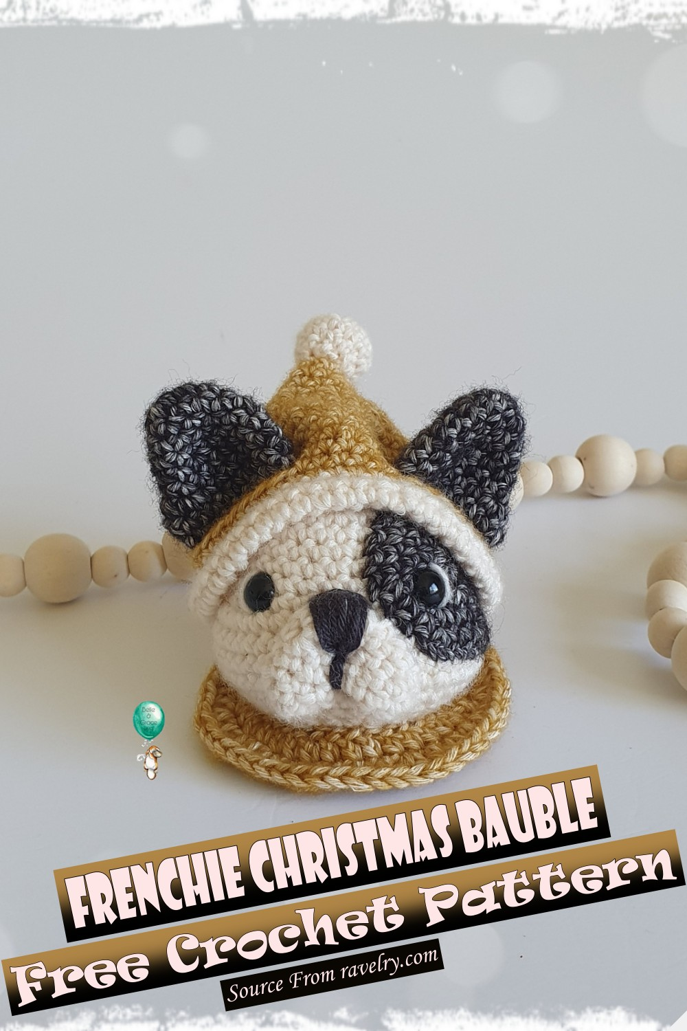Free Crochet Frenchie Christmas Bauble Pattern
