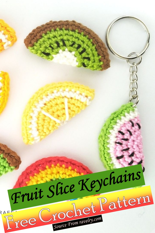 Free Crochet Fruit Slice Keychains Pattern