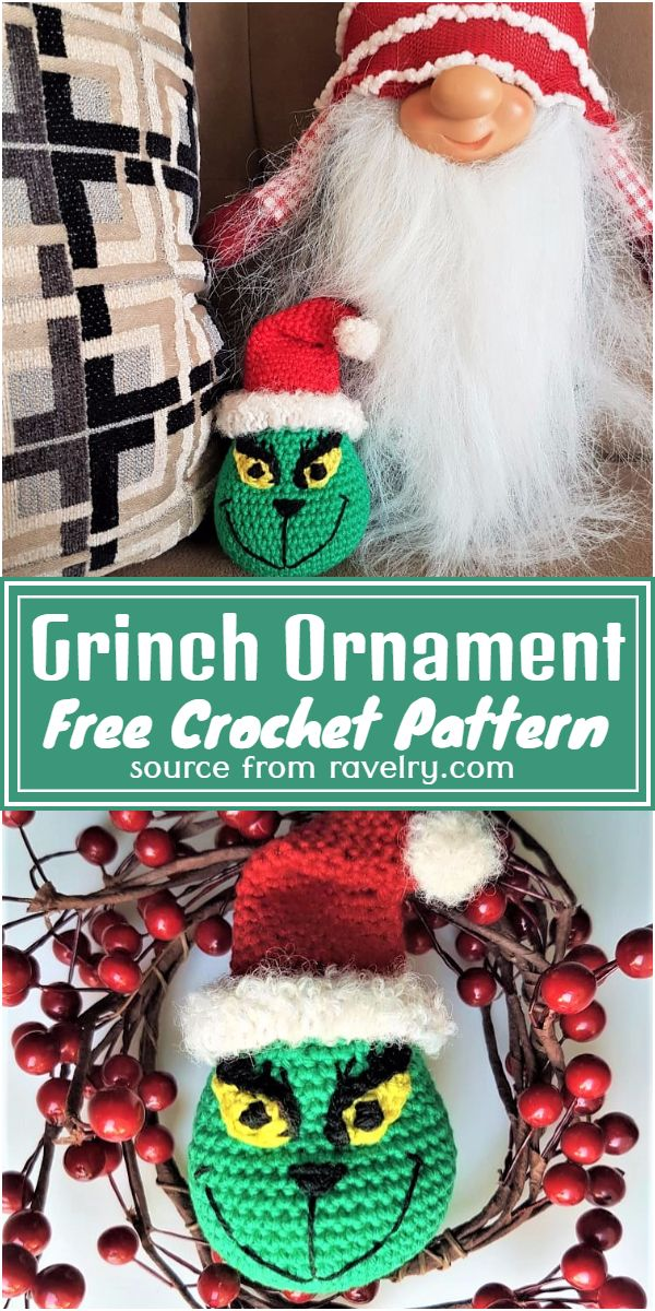 Free Crochet Grinch Ornament Pattern