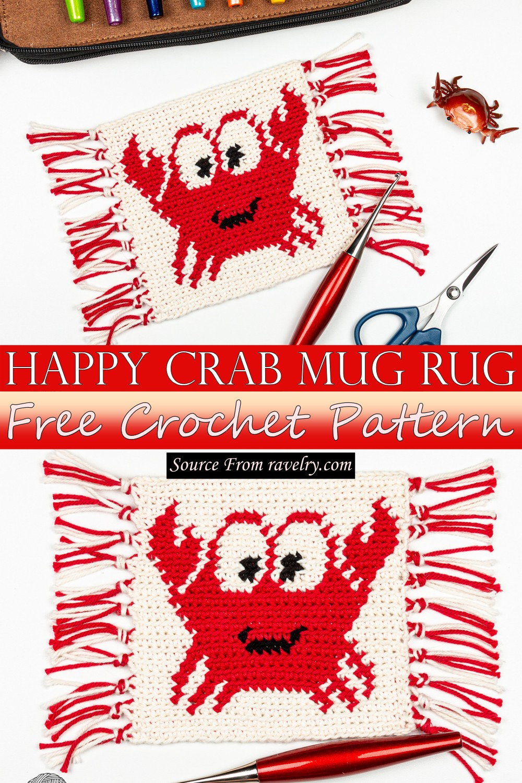 Free Crochet Happy Crab Mug Rug Pattern