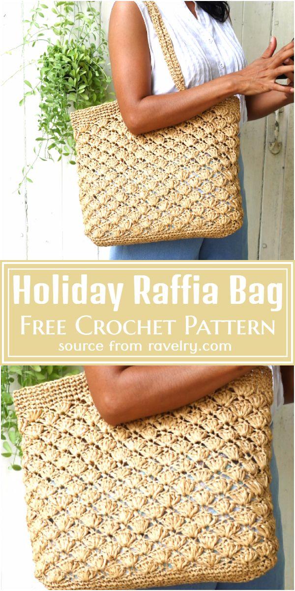 Free Crochet Holiday Raffia Bag Pattern