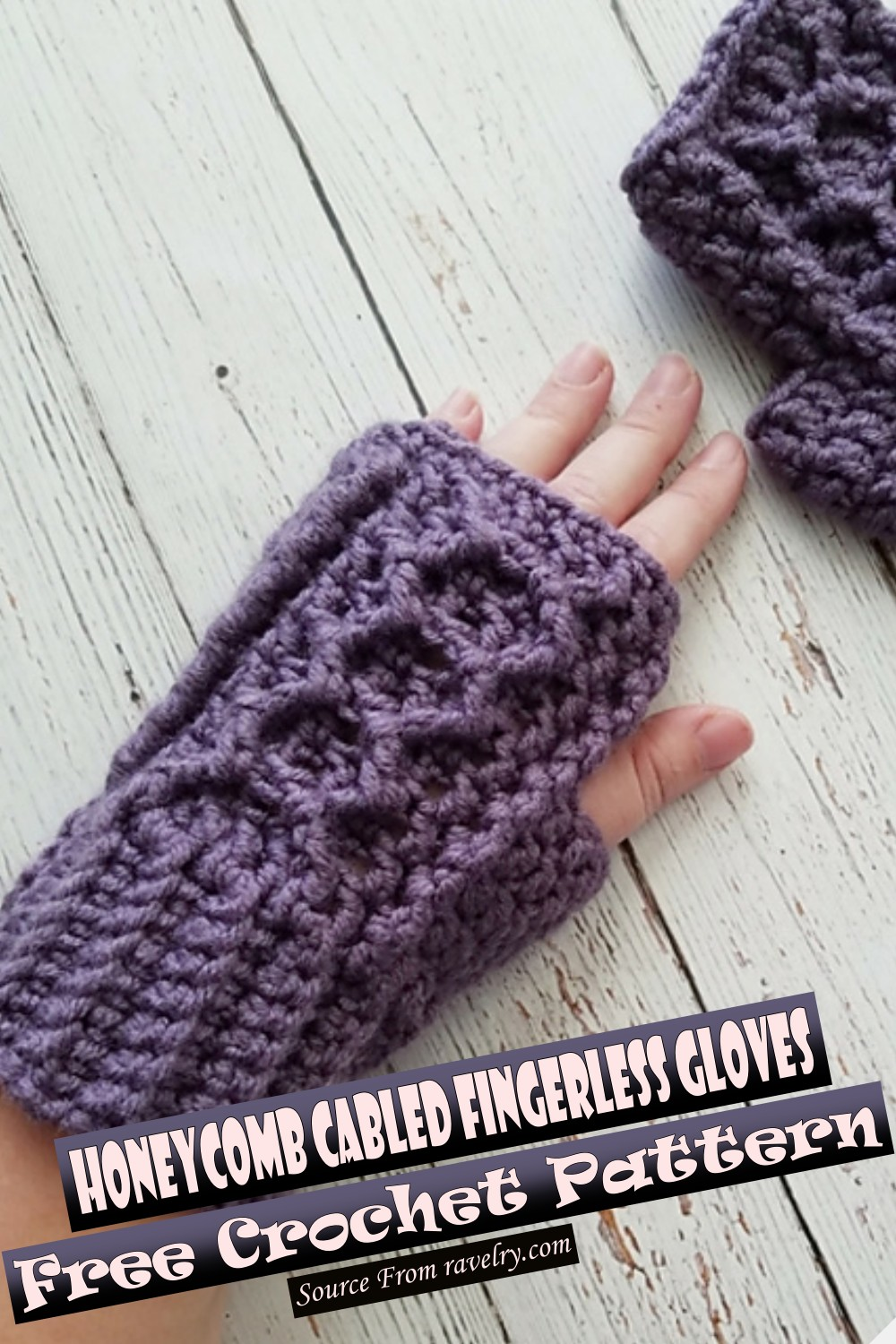 Free Crochet Honeycomb Cabled Fingerless Gloves Pattern