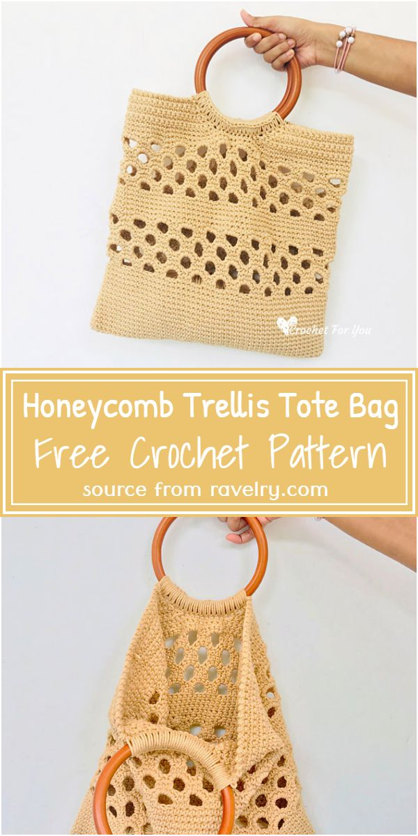 Free Crochet Honeycomb Trellis Tote Bag Pattern
