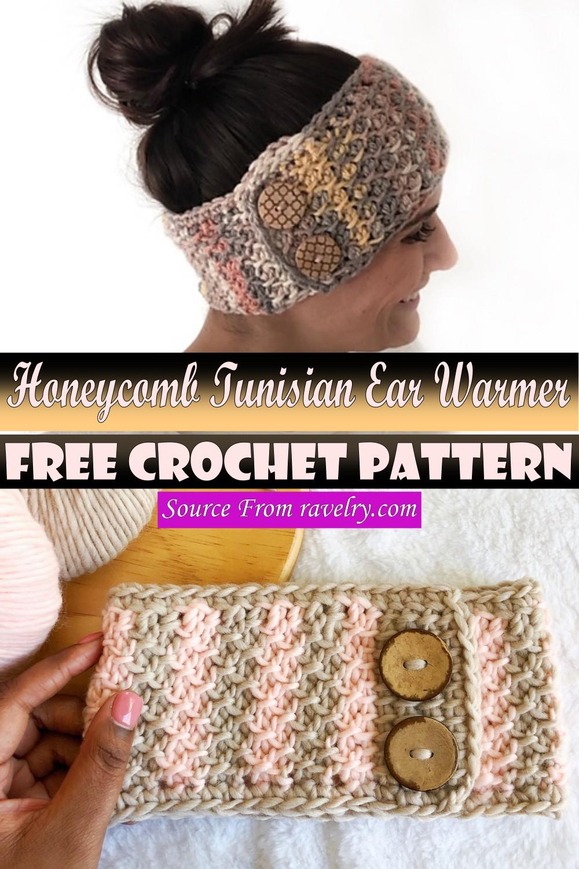 Free Crochet Honeycomb Tunisian Ear Warmer Pattern