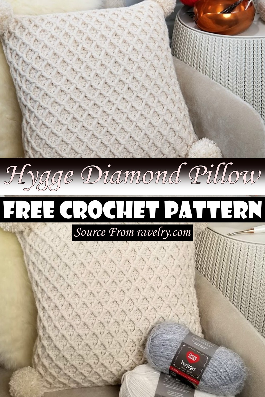 Free Crochet Hygge Diamond Pillow Pattern
