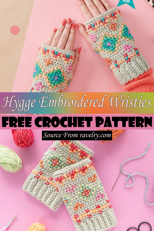Free Crochet Hygge Embroidered Wristies Pattern