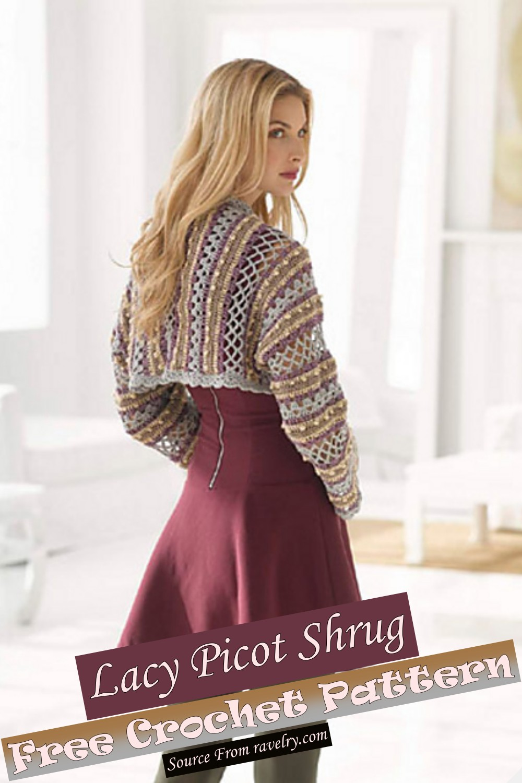 Free Crochet Lacy Picot Shrug Pattern