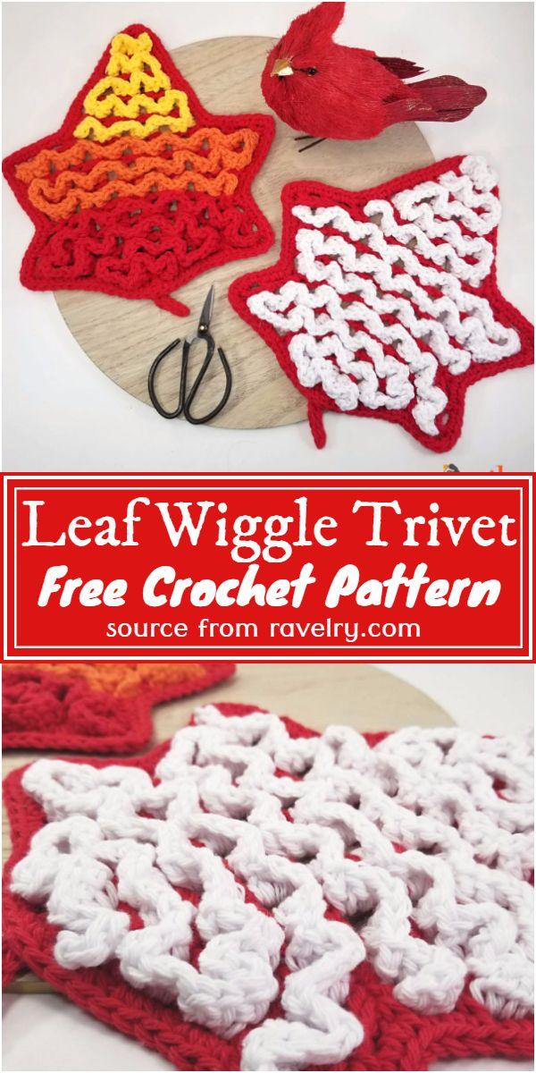 Free Crochet Leaf Wiggle Trivet Pattern