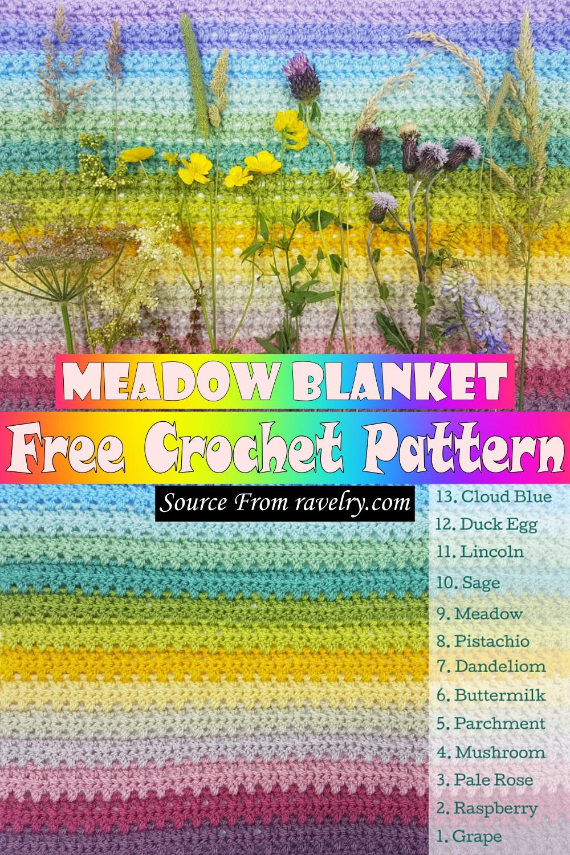 Free Crochet Meadow Blanket Pattern