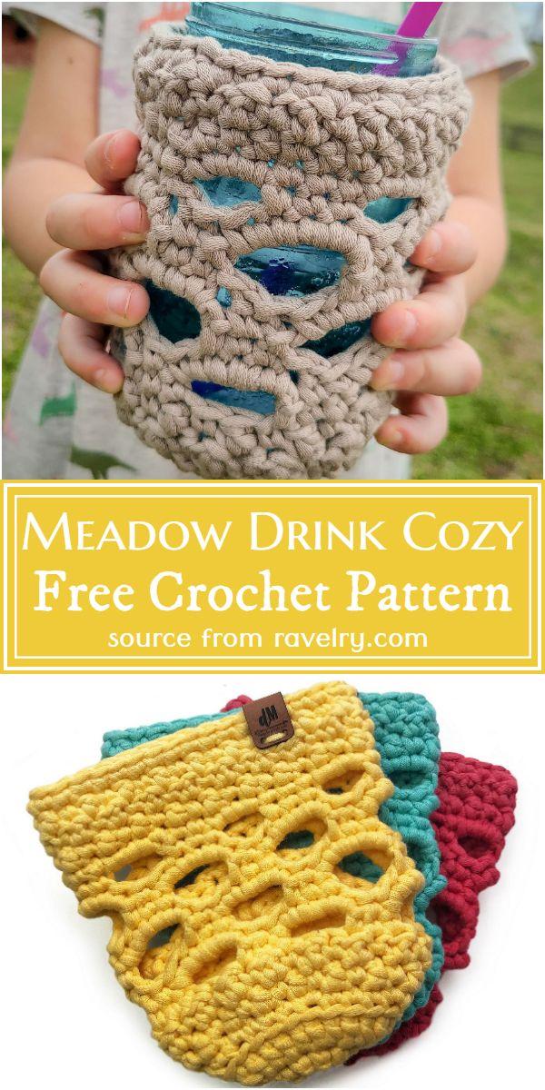 Free Crochet Meadow Drink Cozy Pattern