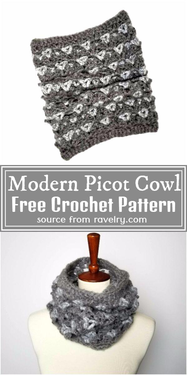 Free Crochet Modern Picot Cowl Pattern