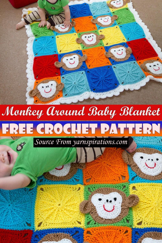 Free Crochet Monkey Around Baby Blanket Pattern