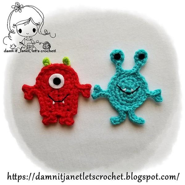 Free Crochet Monster Applique Pattern