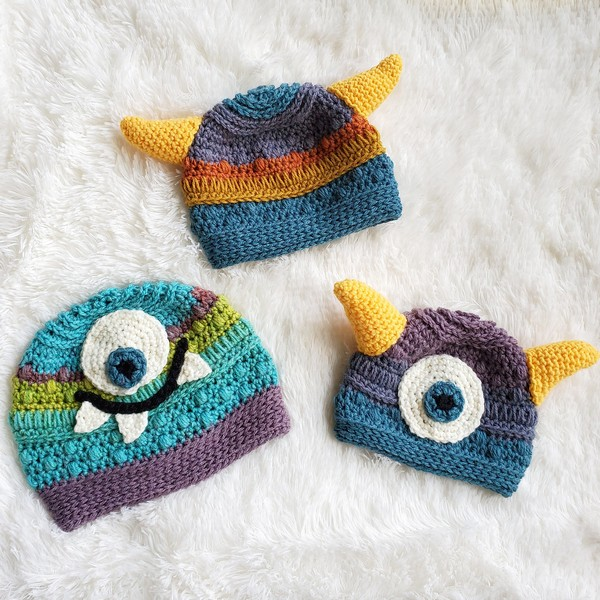 Free Crochet Monster Baby Beanie Hat Pattern